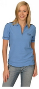 Ladies Waffle Contrast Polo , Clothing